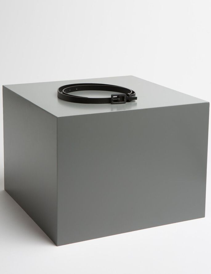 BOX FRAME 15 BRUSHED LEATHER BELT, Black, large