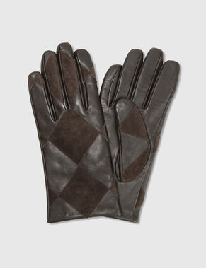 PATCHWORK GEOMETRIC LEATHER GLOVES