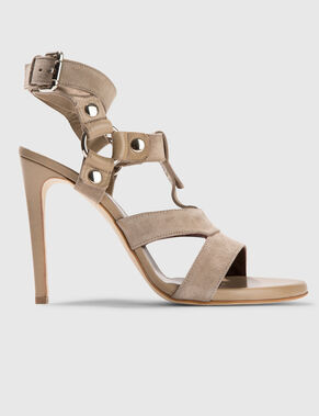 HIGH STRAP MIX CALF SANDALS