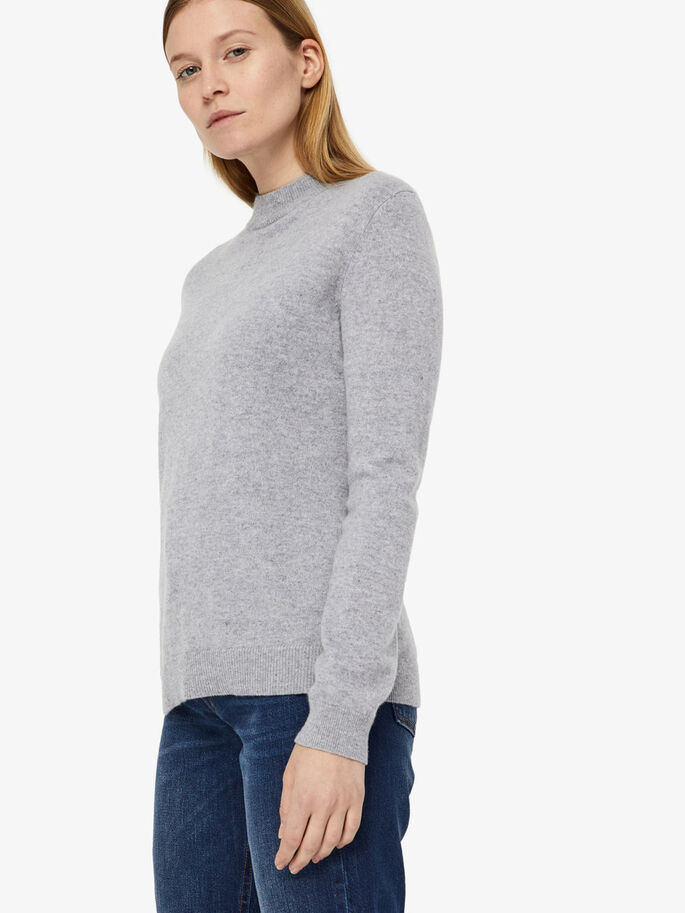 MANDY LIGHT CASHMERE STRIKKET PULLOVER, Stone Melange, large