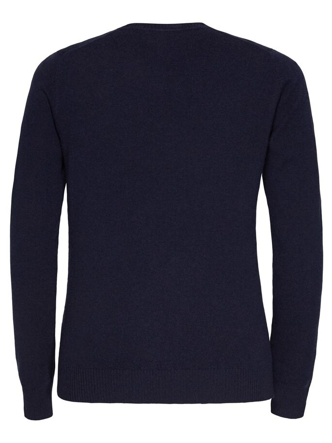 C-NECK LIGHT CASHMERE STRIKKET PULLOVER, Navy, large