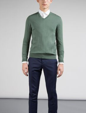 MIKAEL V-NECK COTTON CREPE KNITTED PULLOVER