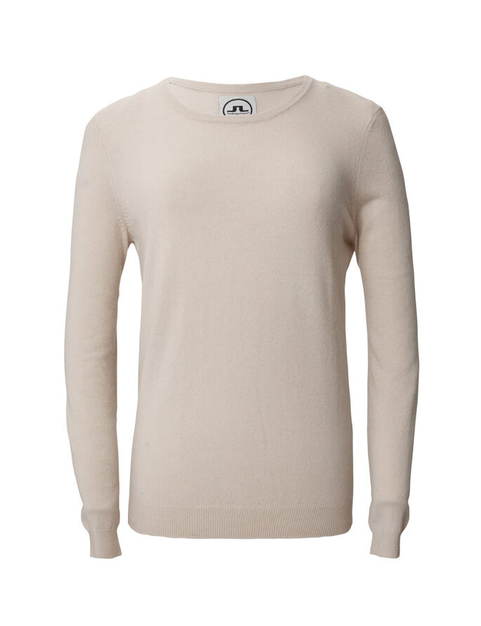 BRIDGE C-NECK LIGHT CASHMERE SWEATER, Beige Melange, large
