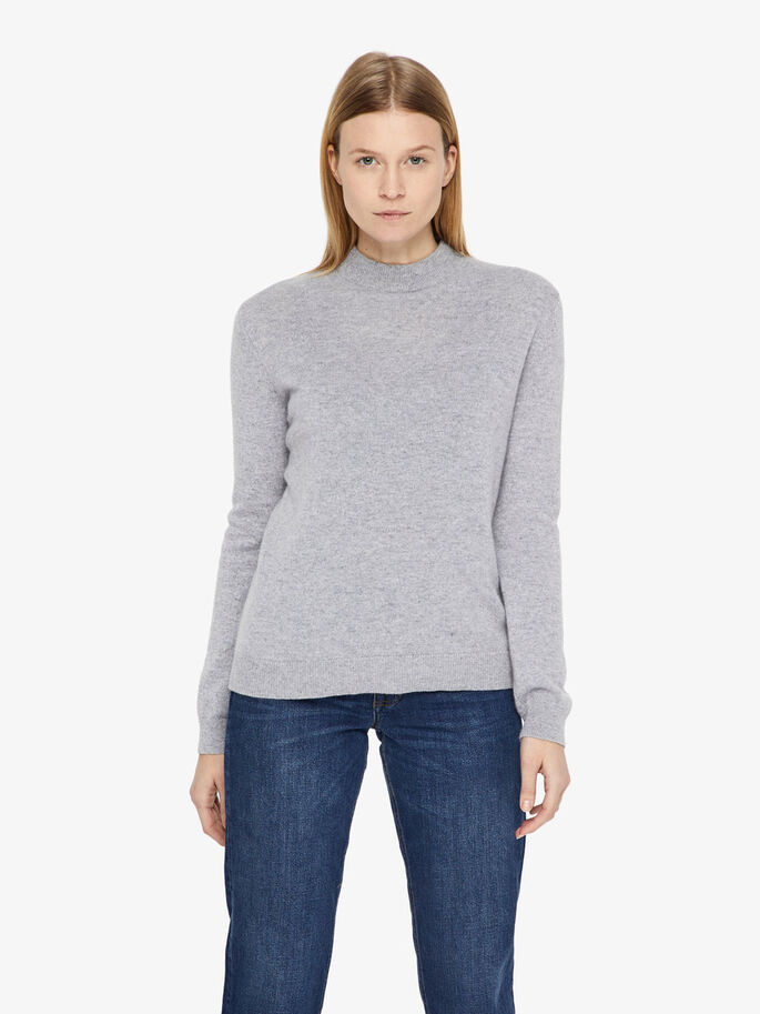 MANDY LIGHT CASHMERE KNITTED PULLOVER, Stone Melange, large
