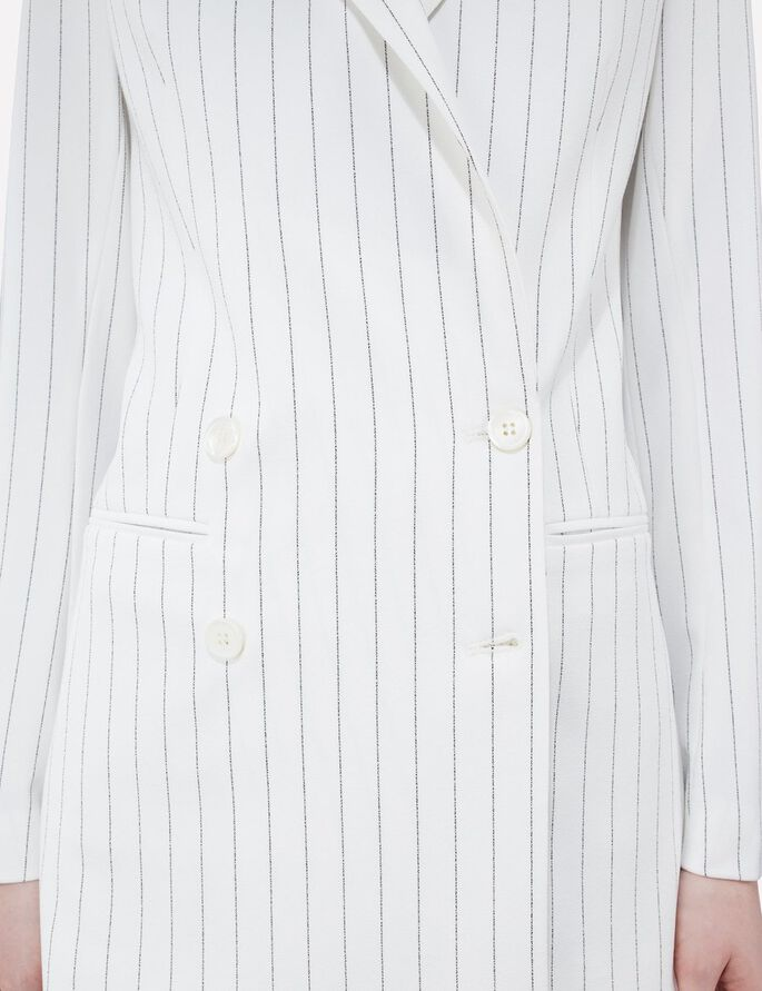 PEARL FAB PINSTRIPE BLAZER, Off White, large