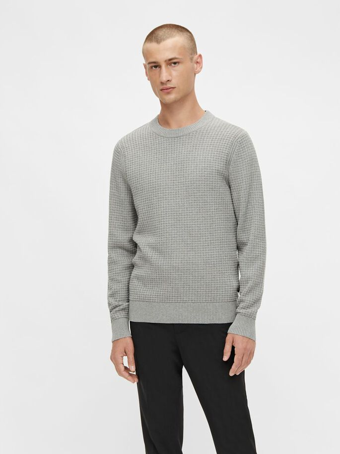 ARTHUR STRUCTURE CREW NECK SWEATER, Lt Grey Melange, large