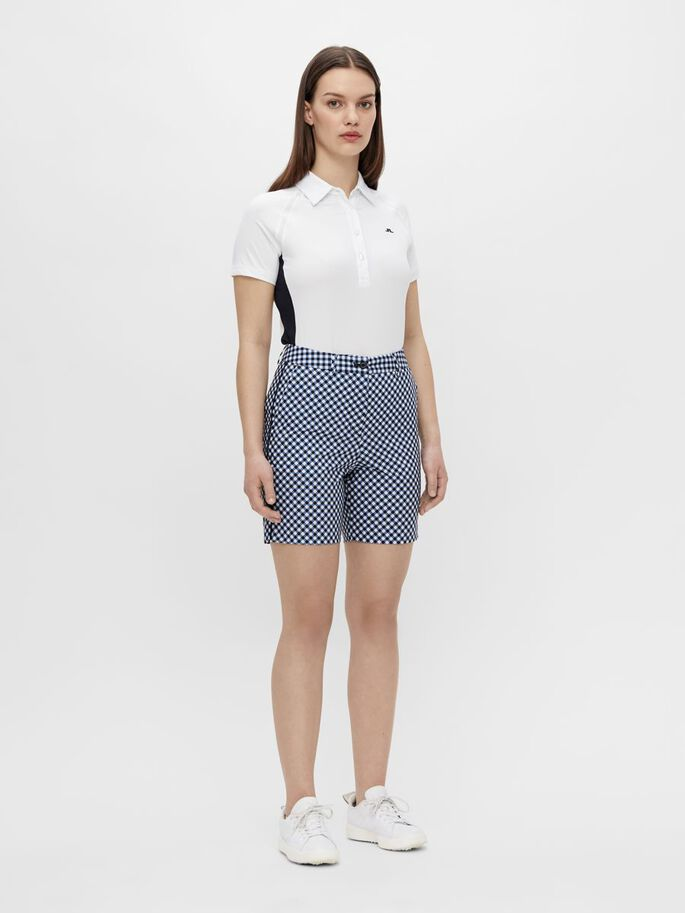 GWEN LONG GOLF SHORTS, GINGHAM NAVY WHITE, large