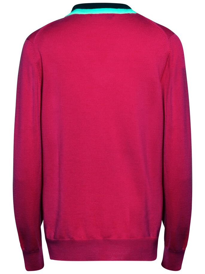 AMY TRUE MERINO KNITTED PULLOVER, Pink Intense, large