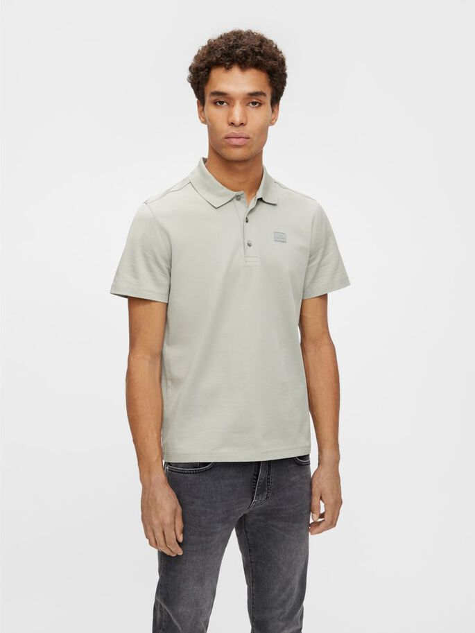 MILES JERSEY POLO, Mid grey, large