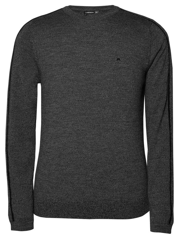 NOLAN TRUE MERINO KNITTED PULLOVER, Black Melange, large