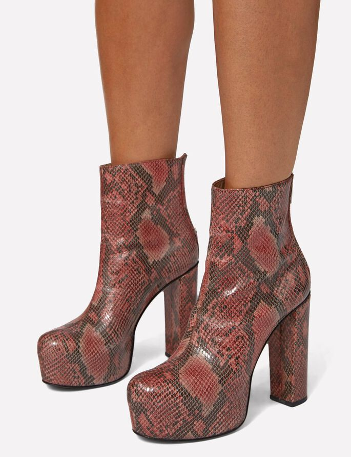 PLATEAU PATENT SNAKE BOOTS, Dusty Rose Sanke, large