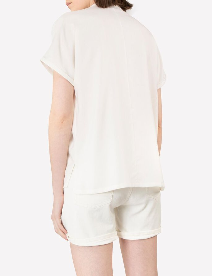 EVELINE RAW SILK SHIRT, Off White, large