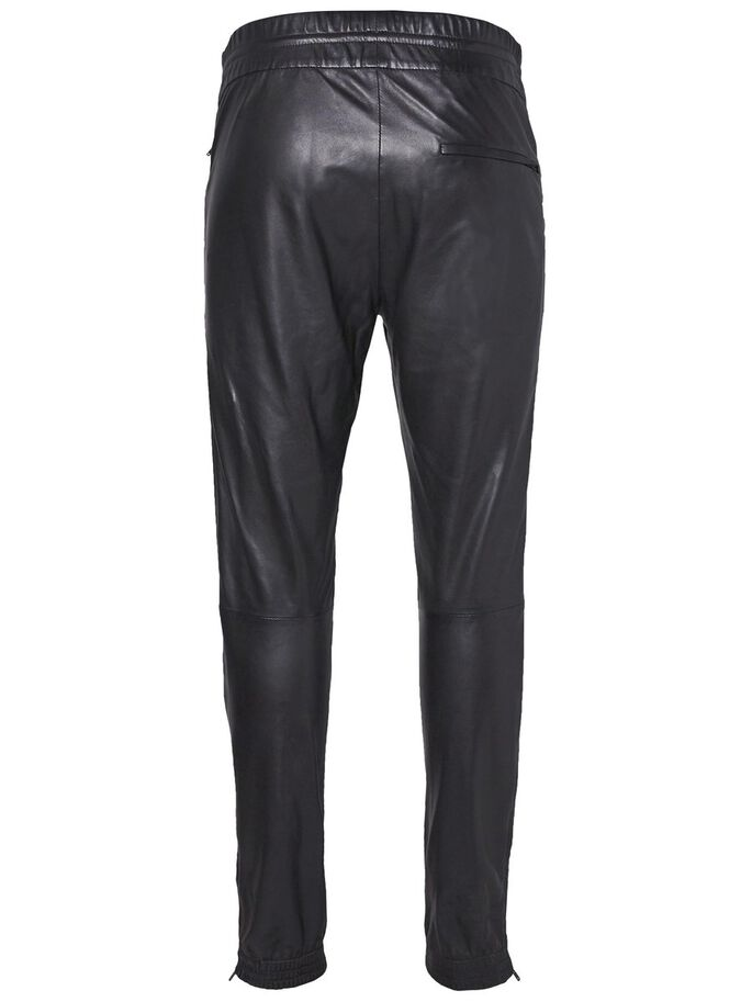 BROKEN TRACK CLAIR PANTALON EN CUIR, Black, large