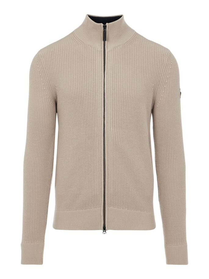 KYLE TRUCKER ZIPPED CARDIGAN, Oyster Brown, large