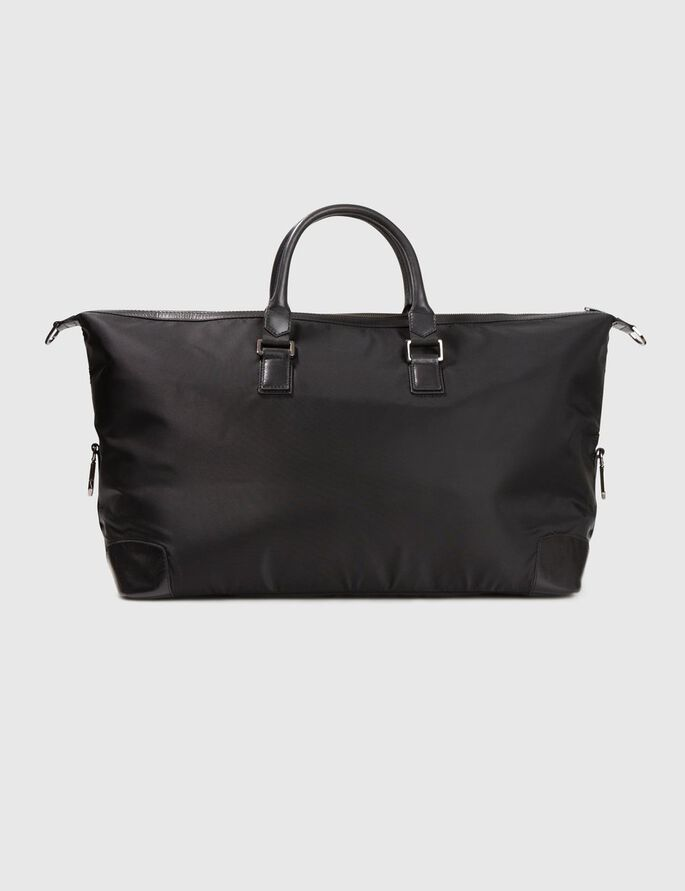 LEATHER/NYLON BAG, Black, large