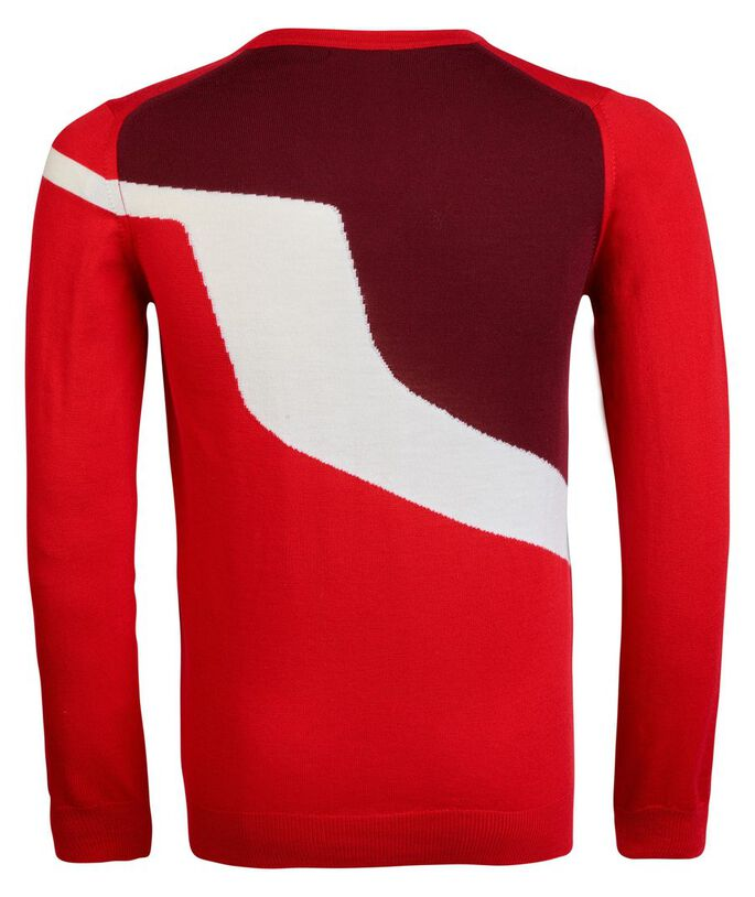 JETHRO TRUE MERINO STRIKKET PULLOVER, Racing Red, large