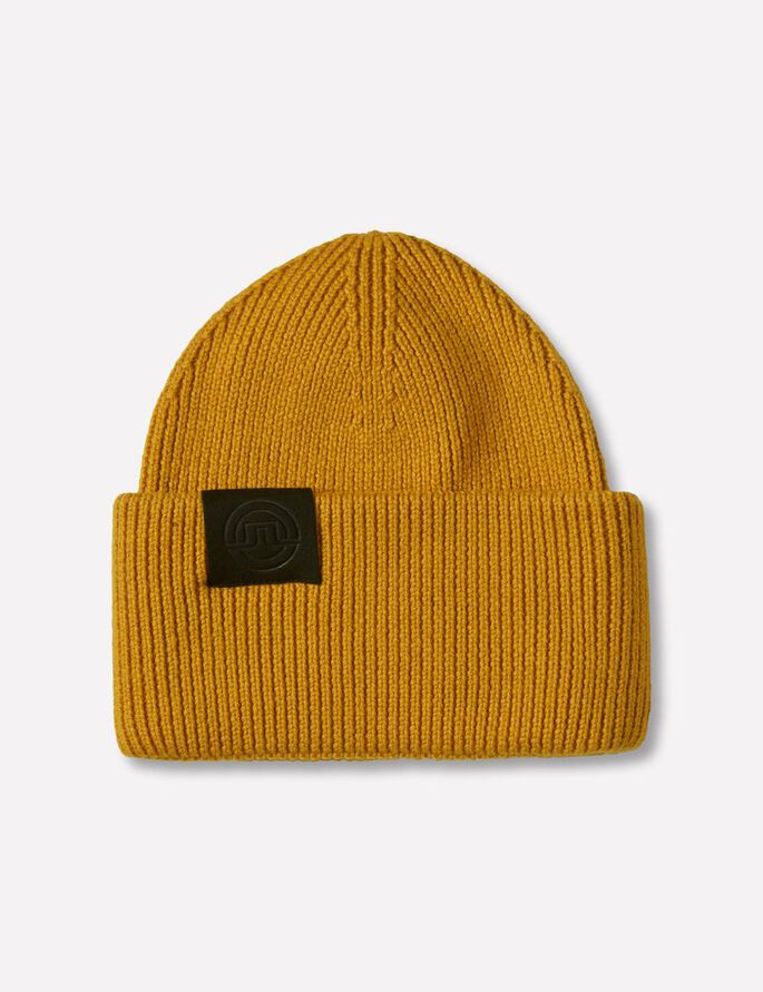 BIG SPONGY WOOL BEANIE, Mustard, large