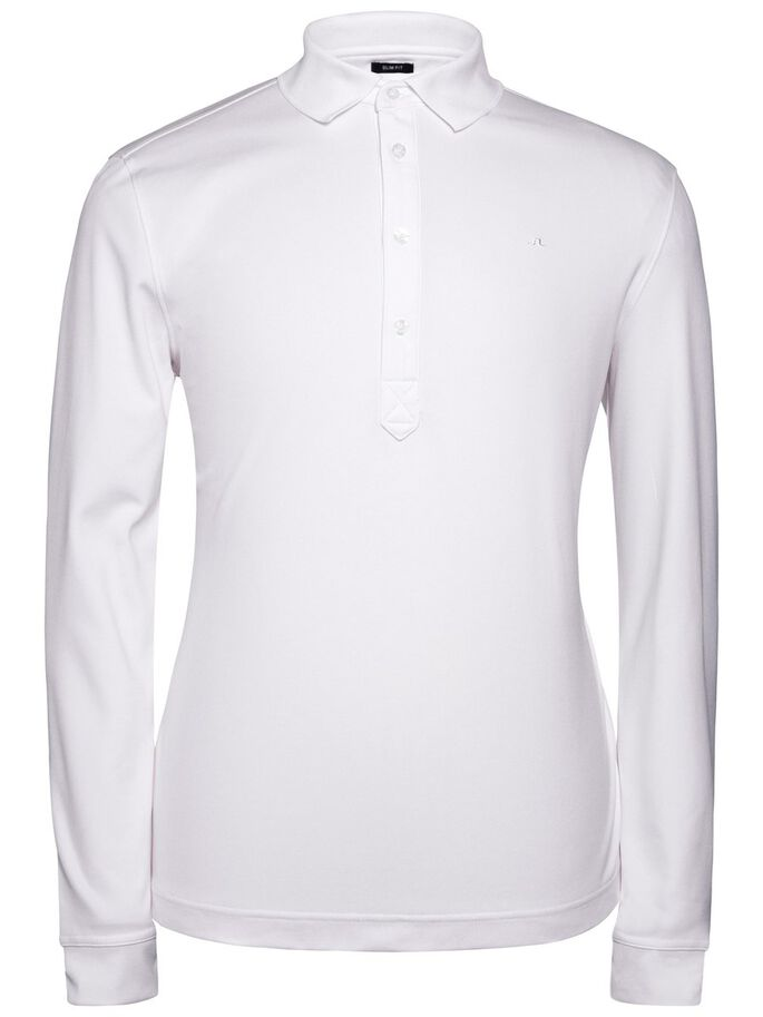 OLOF LONG-SLEEVED TX PEACHED POLO SHIRT, White, large