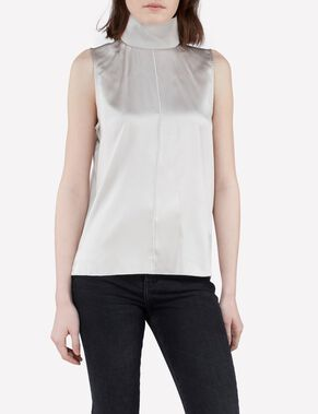 HEATHER SHINY DRAPE SLEEVELESS BLOUSE