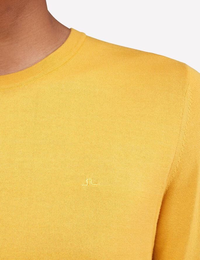 MIKAEL C-NECK COTTON CREPE KNITTED PULLOVER, Yolk Yellow, large