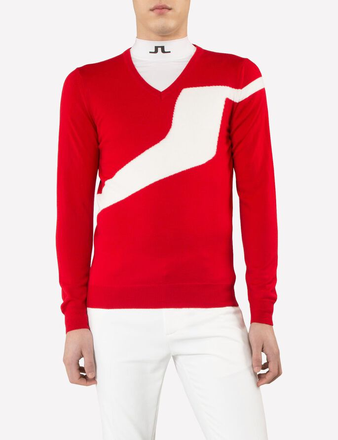 JETHRO TRUE MERINO KNITTED PULLOVER, Racing Red, large