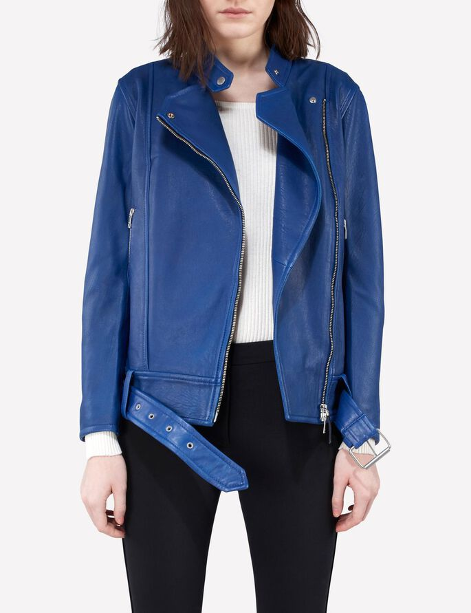 MAYA SUMMER LEATHER JACKET, Dk Blue/Purple, large