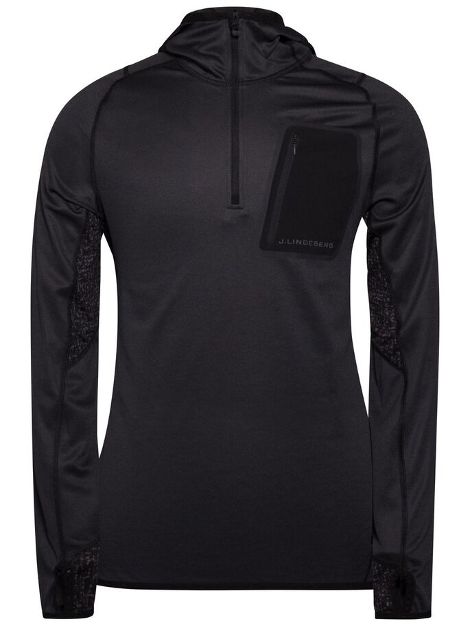 RUNNING ELEMENTS JERSEY HOODIE, Black Melange, large