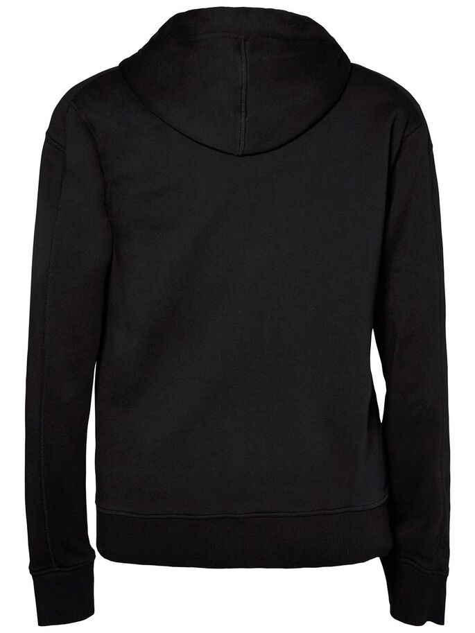 THROW ELEVATED BAUMWOLL- HOODIE, Black, large