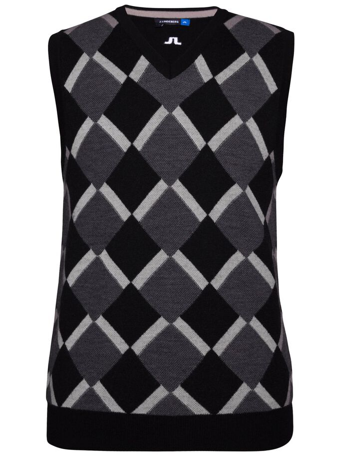 ARGYLE TRUE MERINO VEST, Black Diamond, large