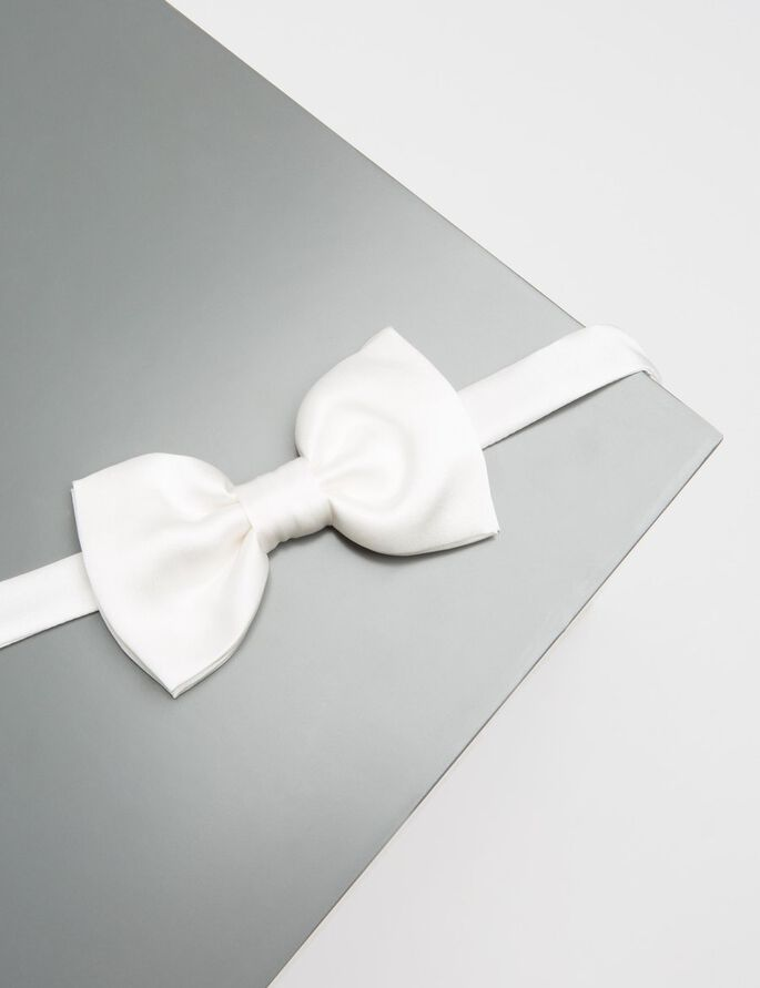 EVENING SATIN BOW TIE, White, large