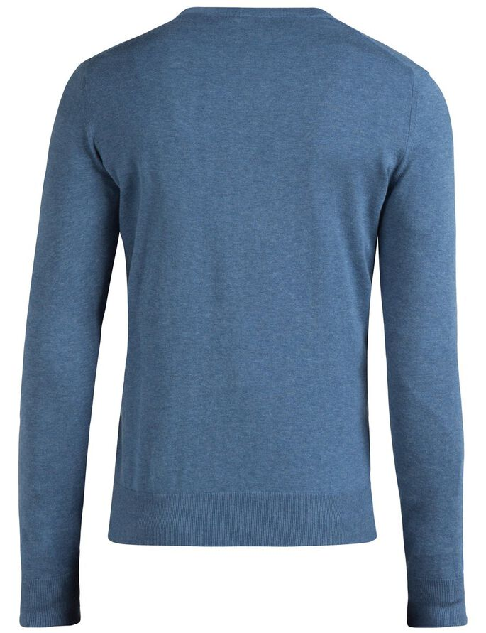 MIKAEL V-NECK COTTON CREPE KNITTED PULLOVER, Blue Melange, large