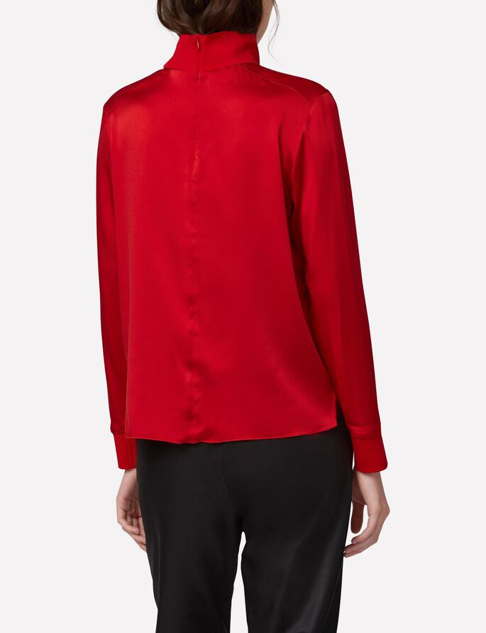 HEIDI WASHED SILK TURTLENECK, Red Deep, large