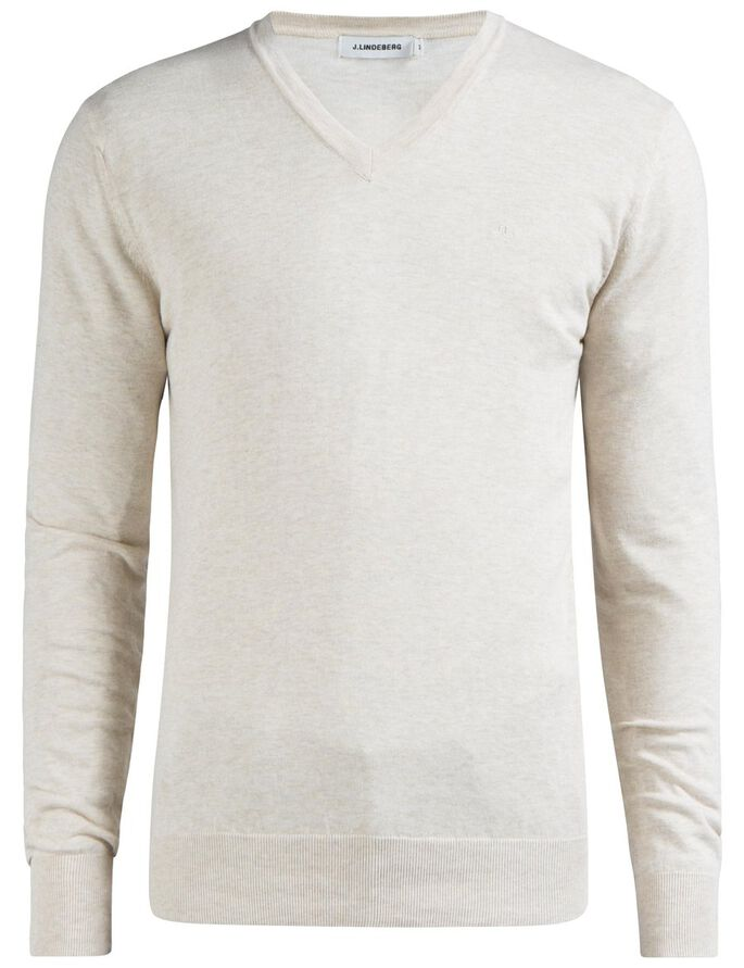 MIKAEL V-NECK COTTON CREPE KNITTED PULLOVER, Pale Powder Mel, large