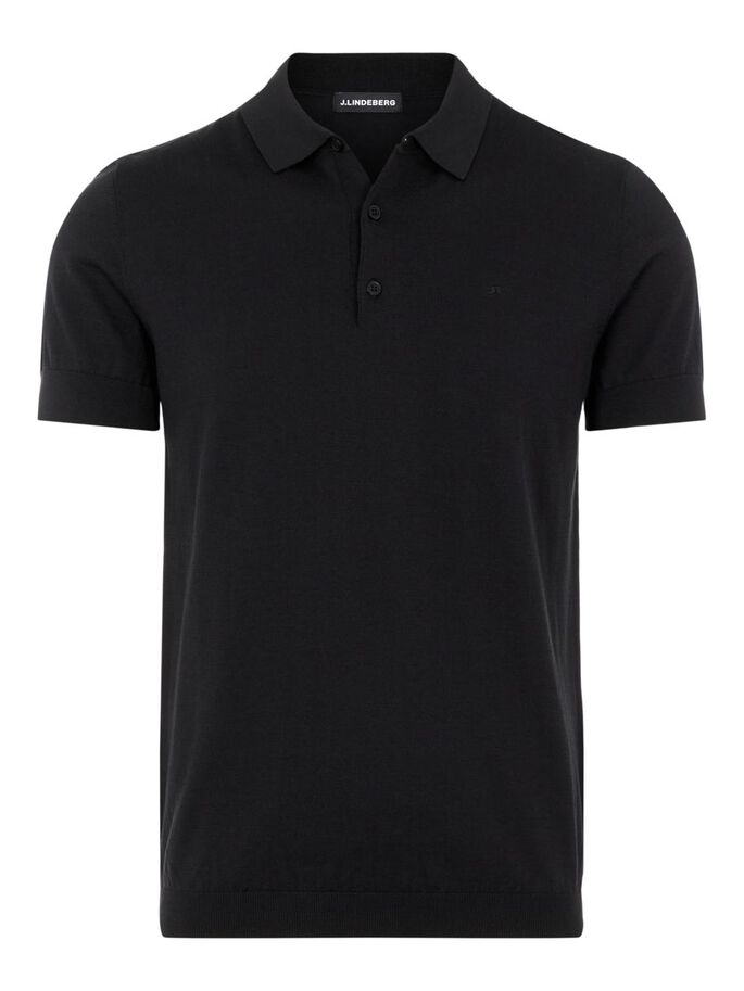 RIDGE COTTON SILK POLO SHIRT, Black, large