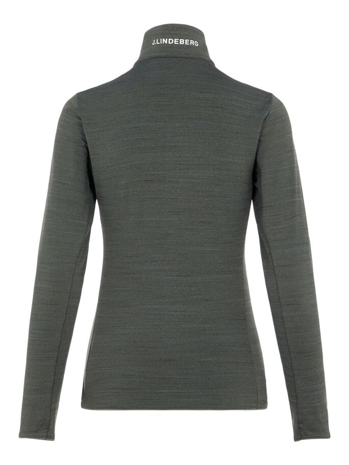 LAURYN MIDLAYER SWEATER, Thyme Green Melange, large