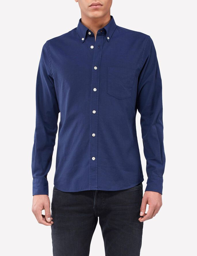 DANIEL BUTTON-DOWN STRETCH OXFORD SHIRT, Navy, large