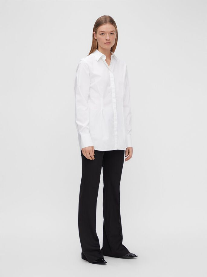 KATHLEEN ORGANIC SATIN SHIRT, White, large