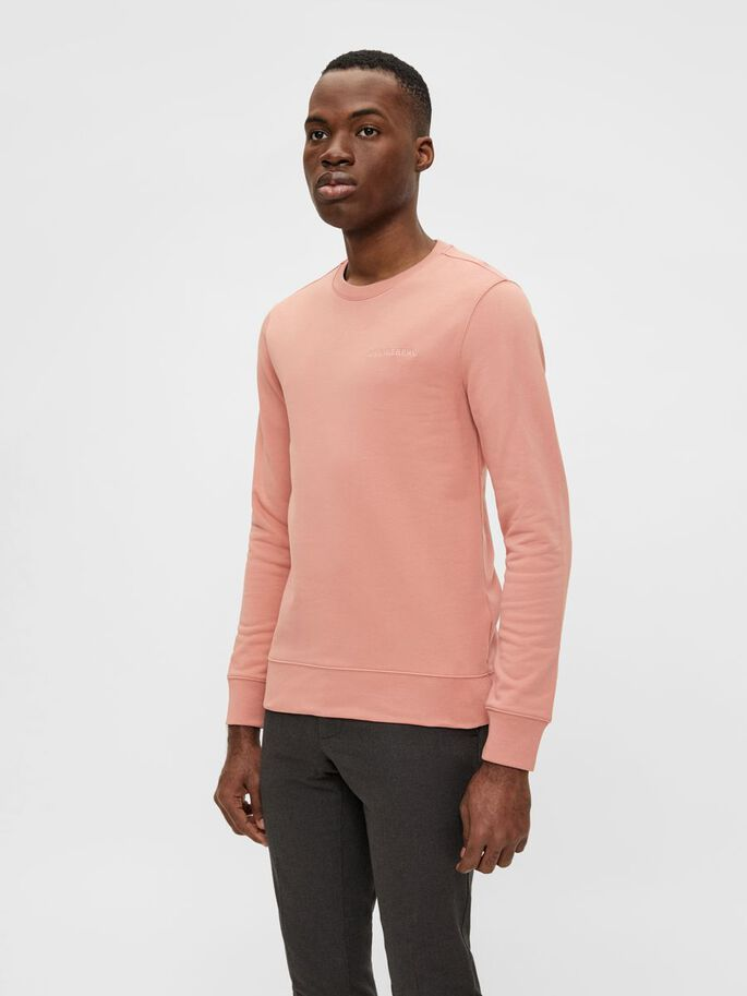 THROW CREW NECK PULLOVER, Rose Coppar, large