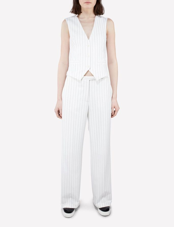 FAY TUX FAB PINSTRIPE WAISTCOAT, Off White, large