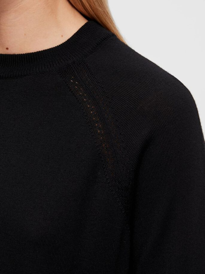 KARLA MERINO CREW-NECK SWEATER, Black, large