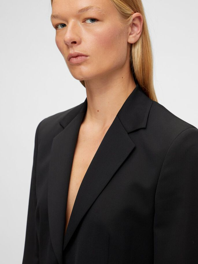 FERN SLIM WOOL BLAZER, Black, large