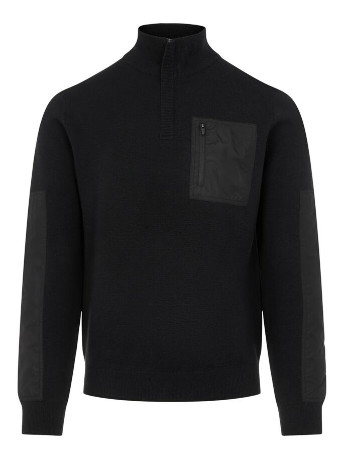 BENNY HYBRID KNITTED SWEATER, Black, large