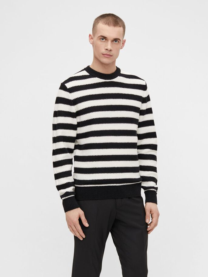RICO STRIPED SWEATER, Black, large