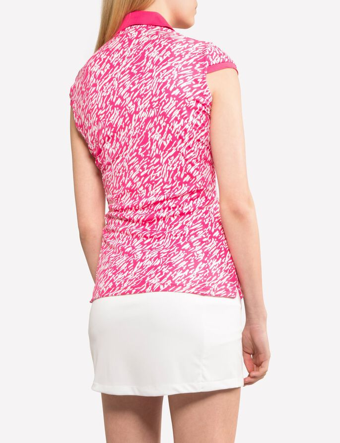 JOHANNA TX JERSEY POLO SHIRT, Brush strokes pink, large