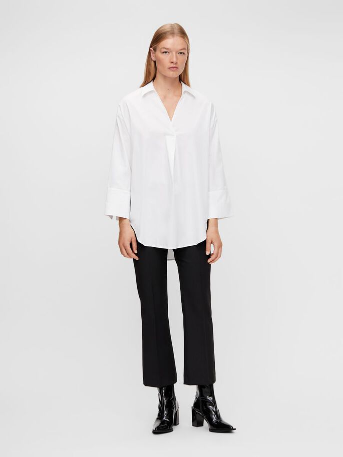IGGIE ORGANIC SATIN SHIRT, White, large