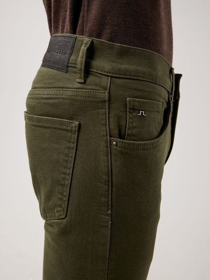 JAY SOLID STRETCH JEANS, Seaweed Green, large
