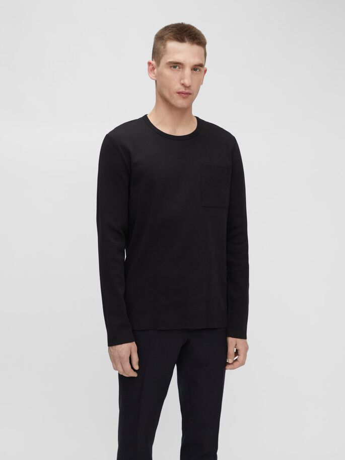 DAVIS LONG SLEEVE T-SHIRT, Black, large