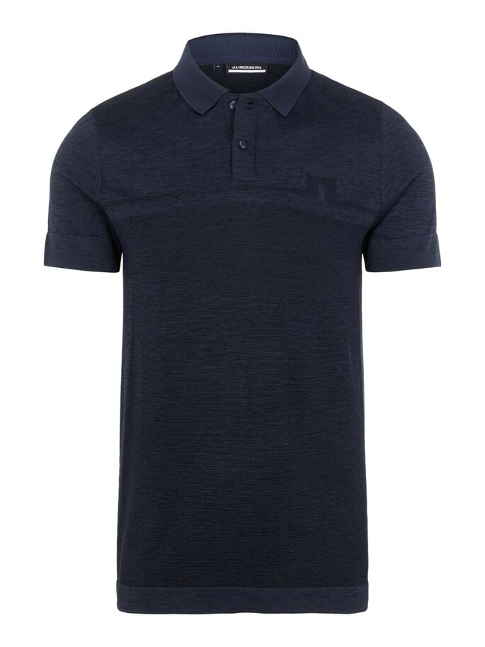 ALFY SEAMLESS POLO SHIRT, Navy Melange, large