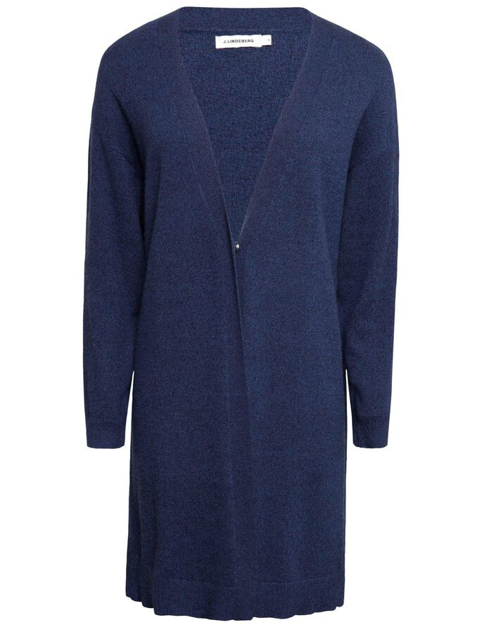 MALOU LIGHT CASHMERE KNITTED CARDIGAN, Navy Melange, large