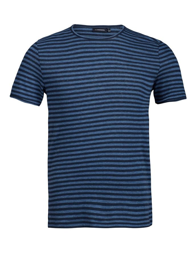 SEV SLIT STRIPE LINEN T-SHIRT, Chambray Stripe, large